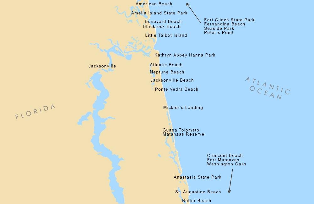 Jacksonville Beaches Map